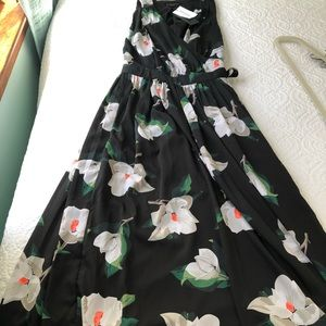 Banana Republic, silk, black floral, Dress